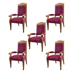 Set of Five Large Art Deco Armchairs in Cherry in the Style of Andre Arbus