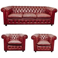 Leather Chesterfield Sofa and Pair of Armchairs by Arne Norell
