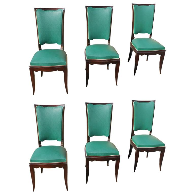 Finest Suite of Six French Art Deco Dining Chairs Style Of Jules Leleu  WO25