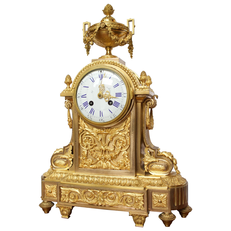 French Napoleon III Period Mantel Clock in Dore Bronze