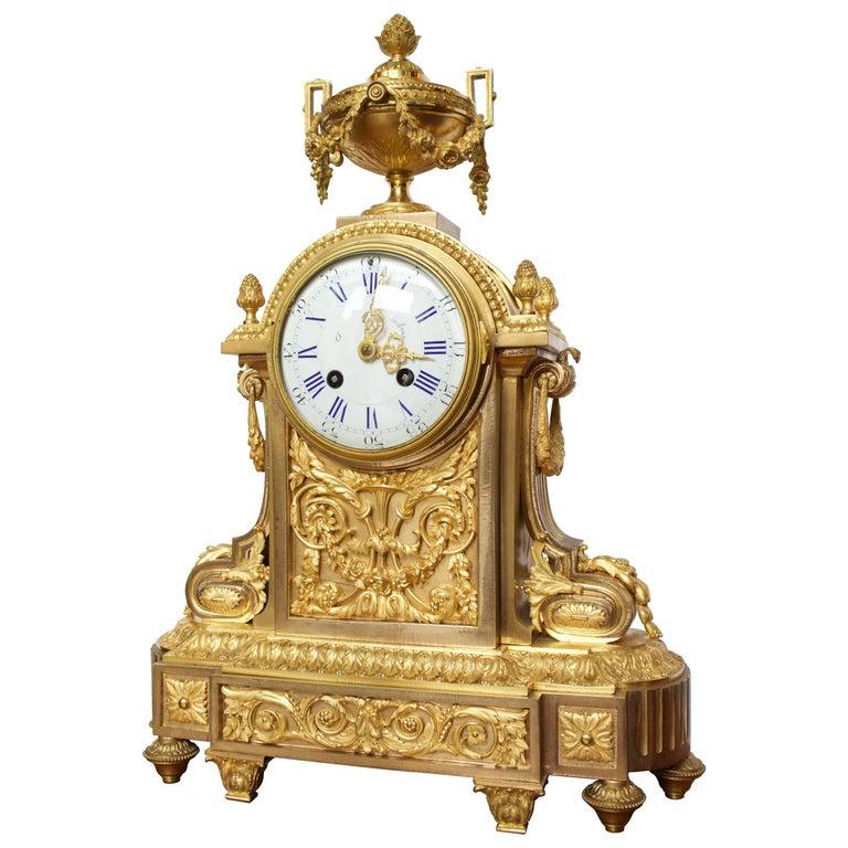 French Napoleon III Period Mantel Clock in Dore Bronze For Sale
