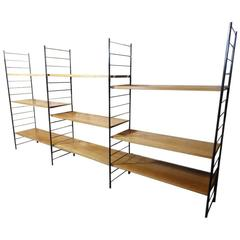 Mid-Century Modern, 1960 Extra Large Teak or Metal Wall Shelving or Wall Unit
