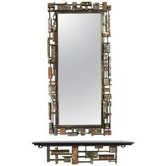 Brutalist Syroco Wall Mirror and Hanging Shelf