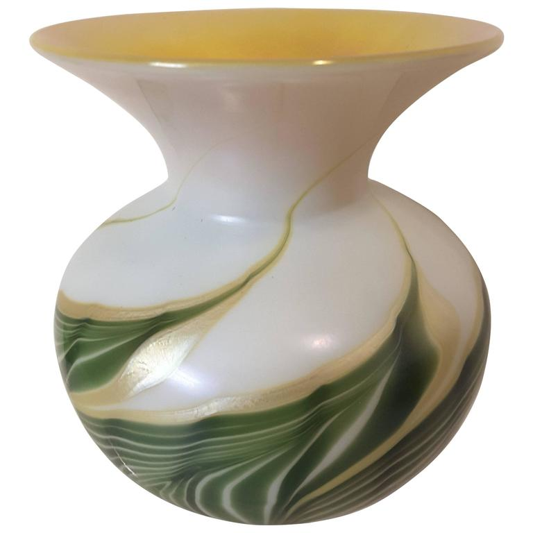 Pulled feather art glass vase in white green and