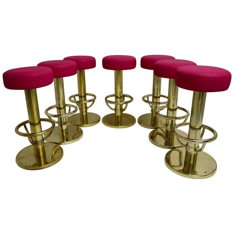 Set of Seven Brass Barstools with Pink Seat, 1960s