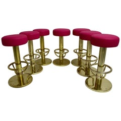 Mid Century Modern Vintage Brass Stools with Pink Seat 1960s Set of seven
