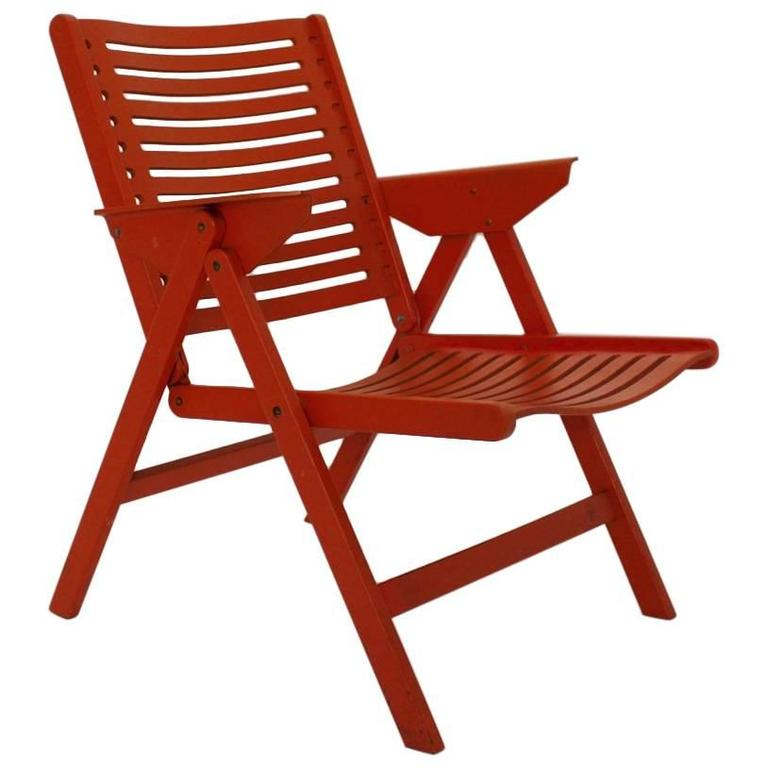 Red Folding Arm Chair Rex By Niko Kralj, 1952, Slovenia For Sale
