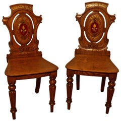 Early 19th Century Golden Oak Hall Chairs, from Cawston Hall Livery Room