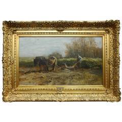 """Anton Mauve """"Horse & Plow"""" Oil Painting"""