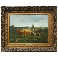 "Constant Troyon ""The Watering Cart"" Oil Painting"