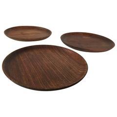 Bob Stockdale Set of Three Wood Turned Plates in Mlombwa Wood