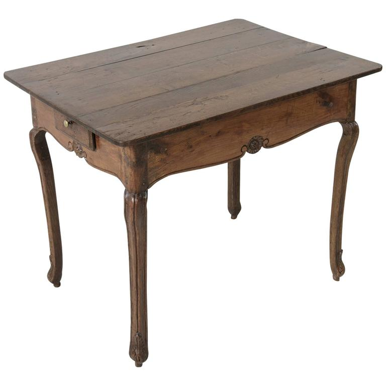 18th Century Louis XV Period Oak Side Table with Drawer