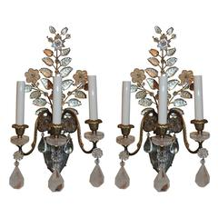 Wonderful Pair Vintage Baguès Rock Crystal Gilt Bronze Jansen Urn Flower Sconces