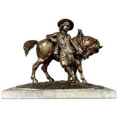 19th Century French Bronze Statue of Man and Horse