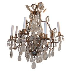 Wonderful Bagues French Eight-Light Silver Gilt Rock Crystal Chandelier Fixture