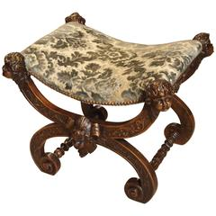 Carved Antique Walnut Wood Stool from Italy, 1800s