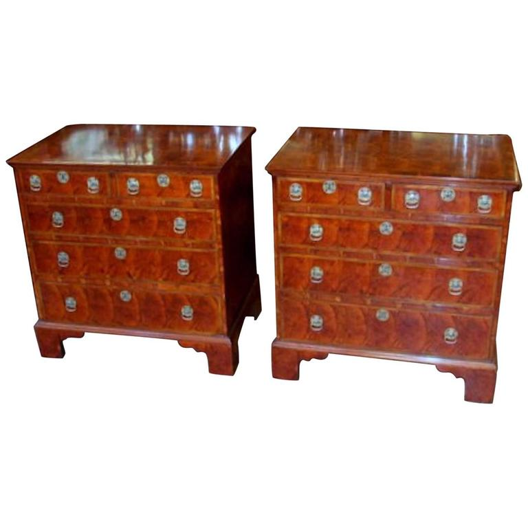 Pair Of Antique English Oyster Veneer Queen Anne Revival