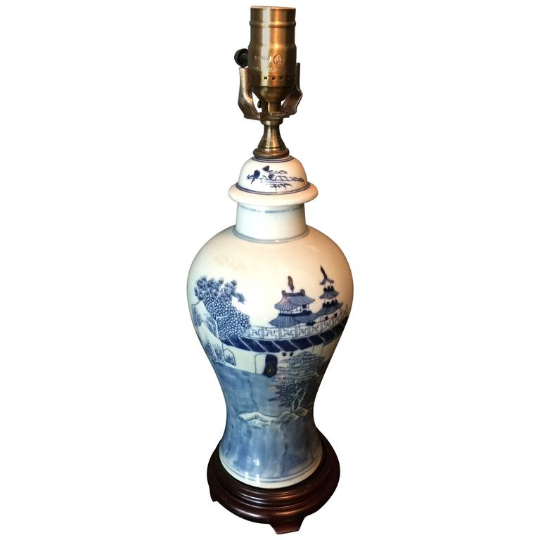 Handsome Single Blue and White Chinese Export Baluster Mounted as Lamp