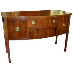 Antique English Inlaid Flame Mahogany Hepplewhite Style Bowfront Sideboard