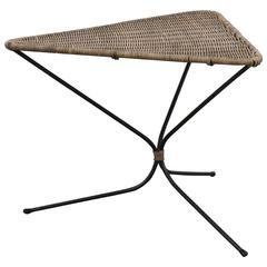 Small Vintage Triangle Wicker Side Table