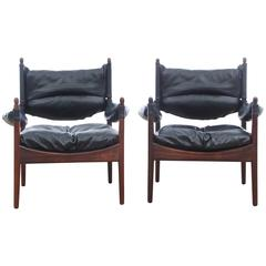 Mid-Century Modern Danish Pair of Lounge Chairs in Rio Rosewood Model Modus