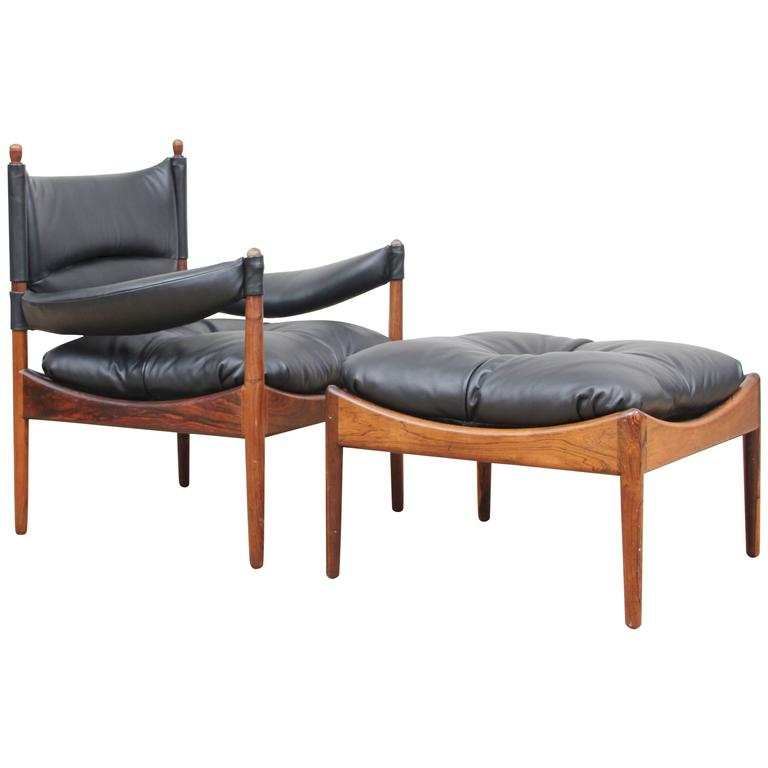 Mid-Century Modern Danish Lounge Chair and Ottoman in Rosewood Model Modus