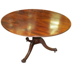 Antique English Regency Style Geo, IV Figured Mahogany Tilt-Top Circular Table