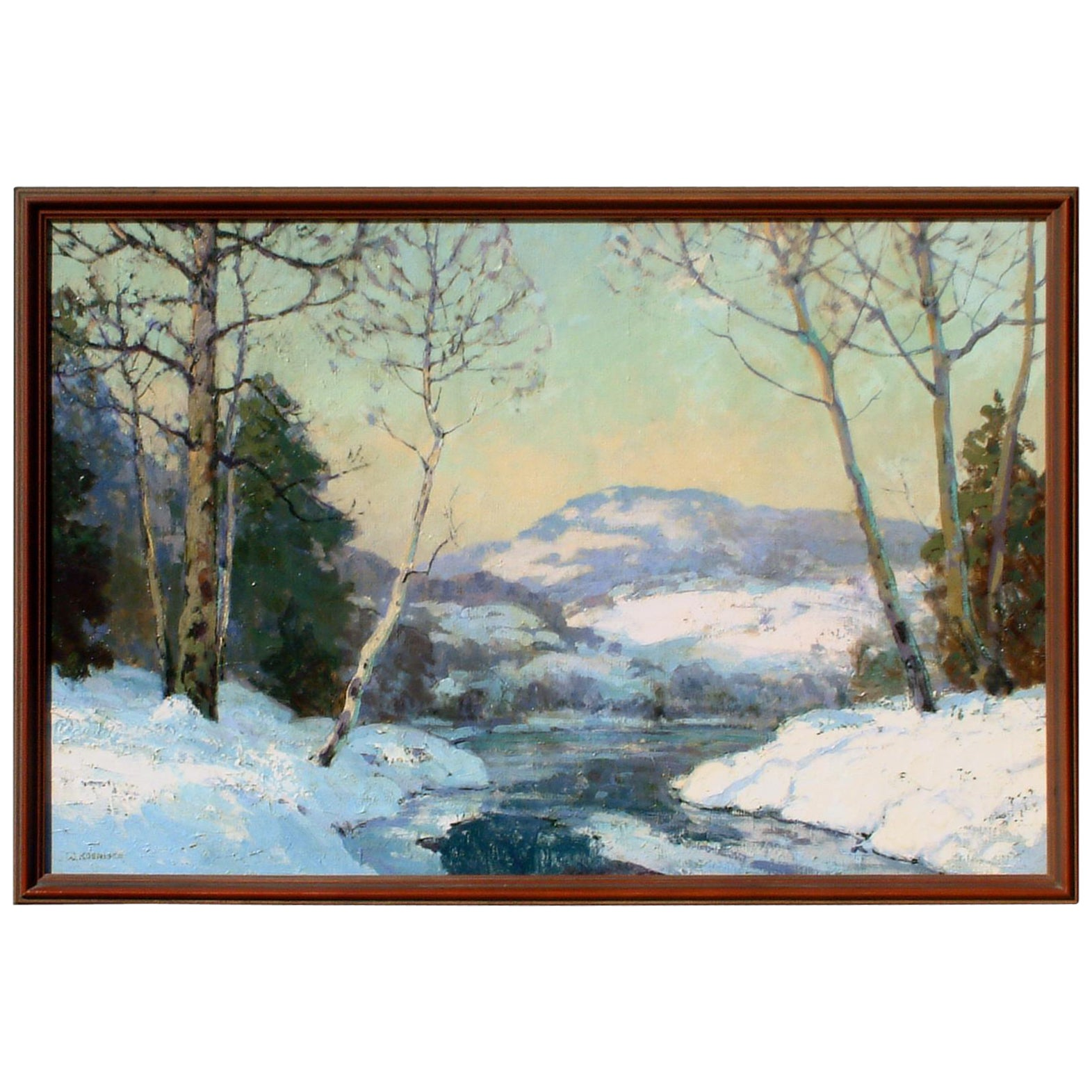 Walter Koeniger Painting, Snow Scene