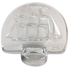 Lalique Frosted Crystal Clipper Ship Paperweight