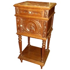 Old French Hand-Carved Oak Breton Region Marble-Top Pot Cupboard or Side Table