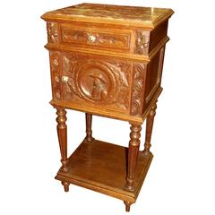 Old French, Hand-Carved Oak Breton Style Marble-Top Pot Cupboard or Side Table
