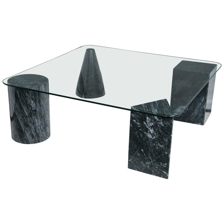 Glass Coffee Table with Geometric Marble Base