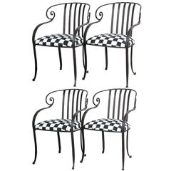 Set of Four Wrought Iron Garden Chairs