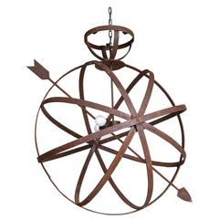 Weathered English Armillary as Light Fixture