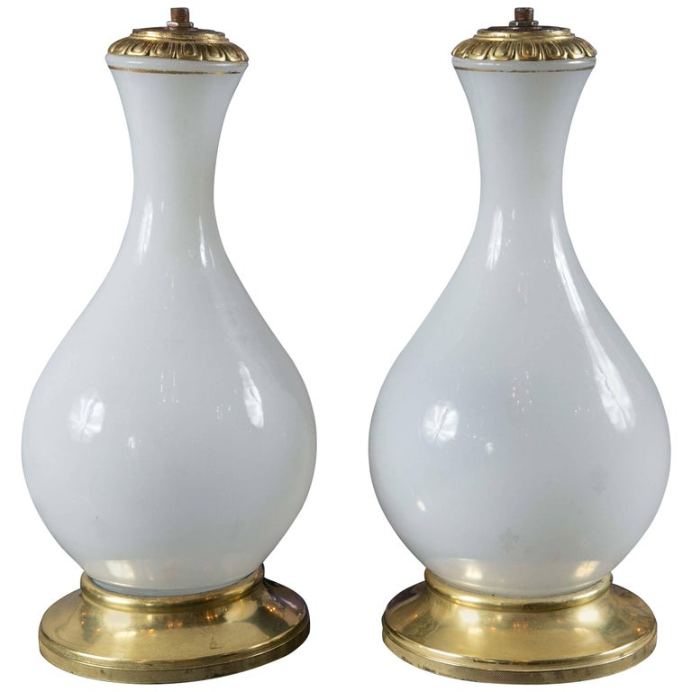 Pair of French Opaque Glass Table Lamps