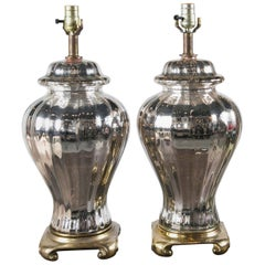 Pair of French Mercury Glass Ginger Jar Table Lamps
