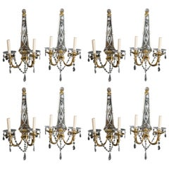 Set of Eight French Gilt Bronze Sconces with Etched Mirror Backplate