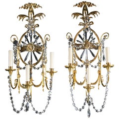 Pair of Large 1920 Caldwell Three-light Sconces with Sunburst Shaped Crystal