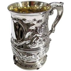 Hand Chased George II Large Sterling Tankard, William Cripps, London