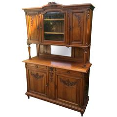 Early 1900's French Hand-Carved Walnut Three-Piece Sideboard Server Cupboard