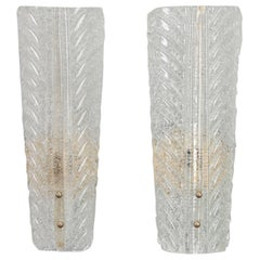 Pair of Tall Barovier and Toso Gold Dust Glass Wall Sconces