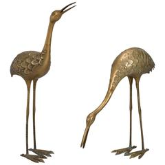 Pair of Mid-Century Tall Brass Crane Statues
