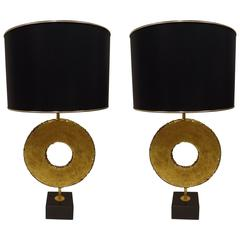 Pair of Gilt Bronze Table Lamps by Giovanni Banci
