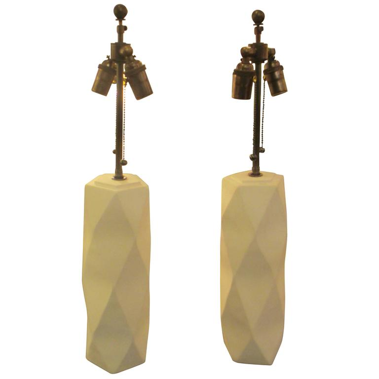 Pair of Cubist inspired plaster lamps.