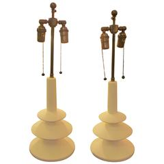 Custom Pair of French Plaster Lamps in the Manner of Alberto Giacometti