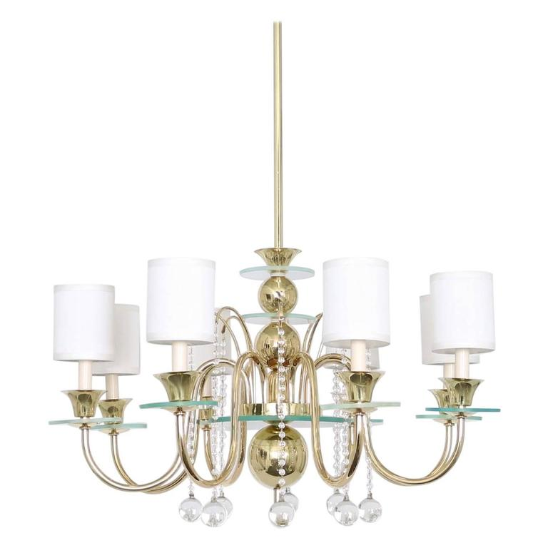 Restored Brass Chandelier in the Manner of Tommi Parzinger