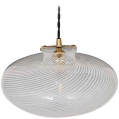 Round Pendant in Swirled Murano Glass, Style of Venini