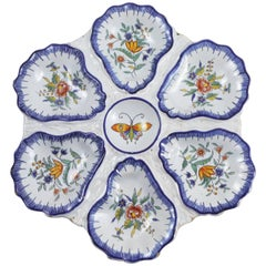 19th Century, Faience Butterfly Oyster Desvres Plate Fourmaintraux