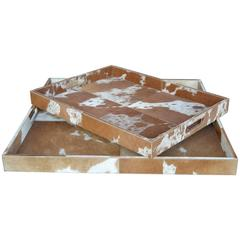 Set of Two Cowhide Trays