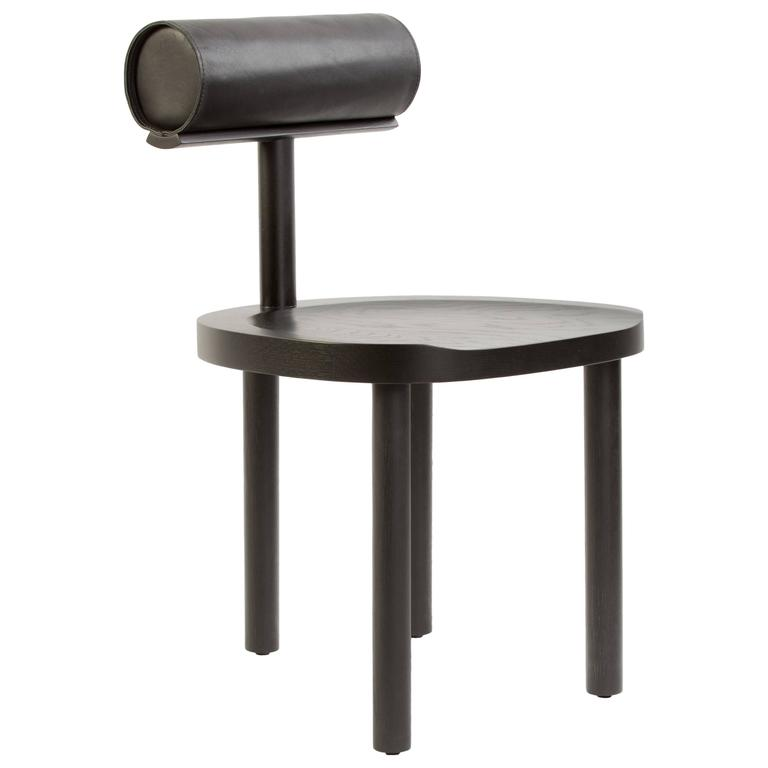 UNA Dining Chair in Black Stained Oak with Leather Back by Estudio Persona